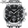 GUANQIN watch Men Business Top Brand Silver Steel Quartz Watch Chronograph Luminous Sport Clock Men's Fashion Casual Wristwatch