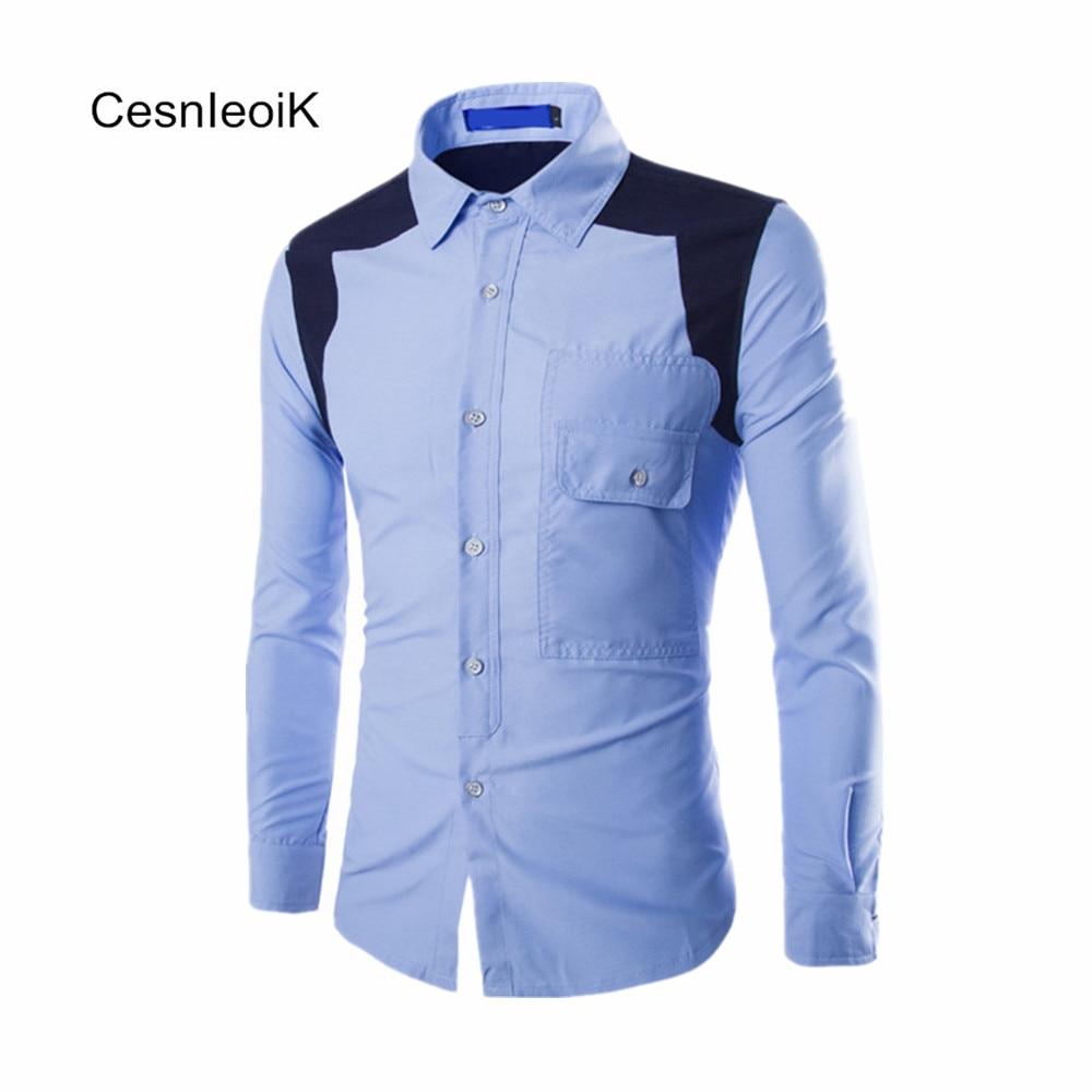 Shirt design for man 2017 - 2017 Stylish Design Winter Spring Slim Casual Mens Long Sleeves Shirts Man Clothes Color Blocking High
