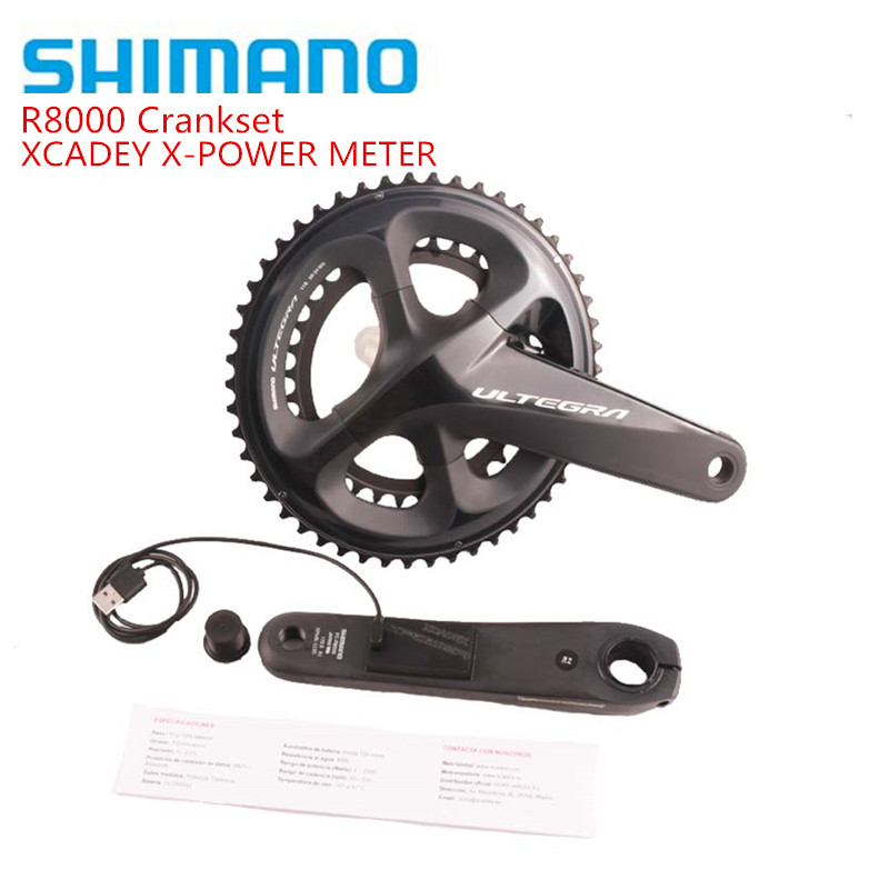 <font><b>SHIMANO</b></font> <font><b>ULTEGRA</b></font> <font><b>R8000</b></font> Road Bike Chargeable POWER <font><b>Crankset</b></font> XCADEY X-POWER METER Crank 170mm 172.5mm <font><b>Crankset</b></font> 52-36T 50-34T image