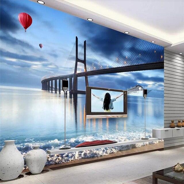 Us 1119 44 Offdekoratif Wallpaper Cross Sea Bridge Kapal Pesiar 3d Tv Latar Belakang Dinding Lukisan Di Kain Tekstil Pelapis Dinding Dari