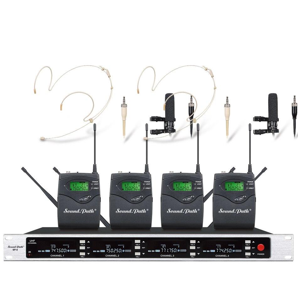 Soundpath профессиональный УВЧ беспроводной микрофон системы четыре канала UHF Динамический Профессиональный правда разнообразие микрофон