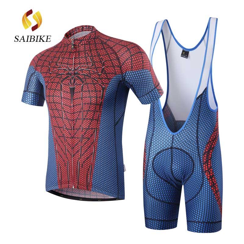 Prix pour SaiBike Cyclisme Maillot Rouge Spiderman cyclisme cuissard ensemble Vélo VTT Cyclisme Manches Courtes Costume ropa ciclismo vêtements