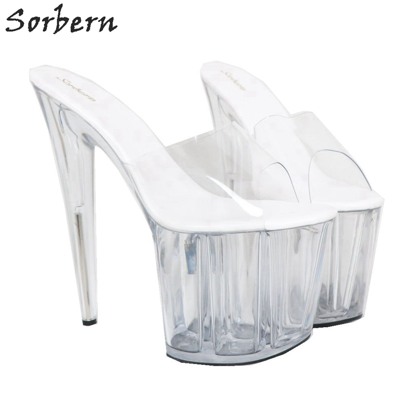 Sorbern Women Slippers Transparent Pvc Slip On Slides Ladies 20Cm High Heels Open Toe - 3