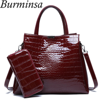 Burminsa Crocodile Print Women Handbags Large Capacity Female Shoulder Messenger Bags High Quality Ladies Purse Free Wallet 2019