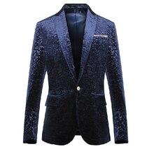 blue costume men's clothing spring and autumn winter male velvet blazer  formal dress slim blazer jacket for singer dancer