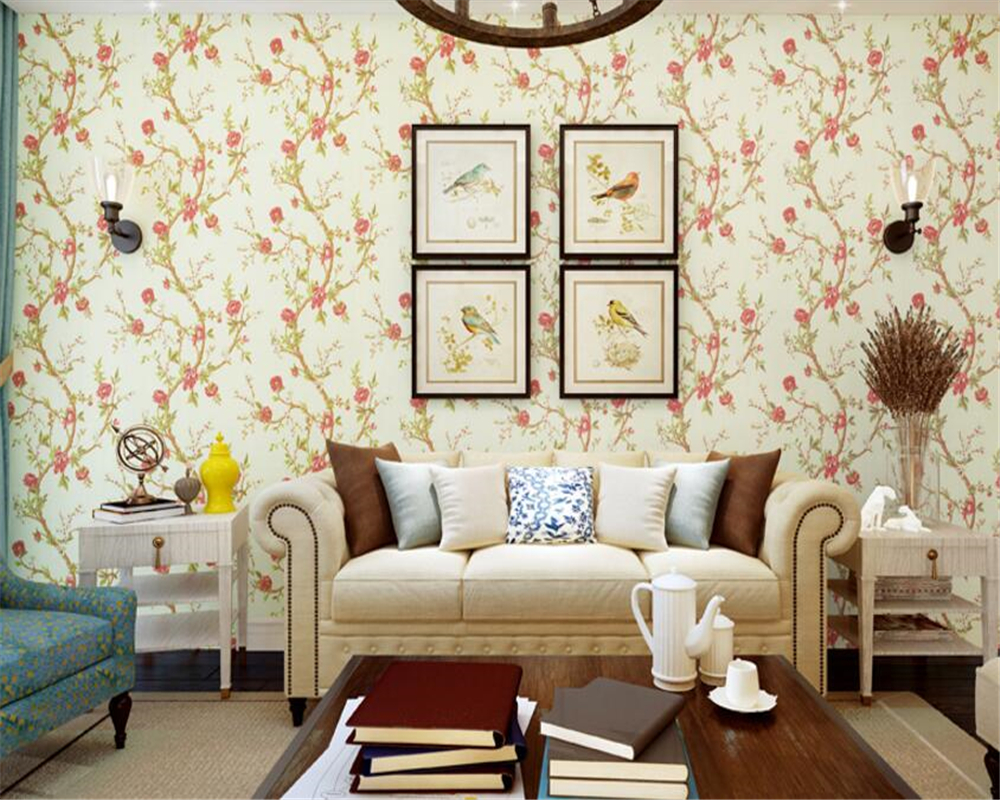 beibehang American-style pure paper papel de parede 3d wallpaper idyllic flowers bedroom porch TV background wall paper tapety beibehang custom silk screen wall paper fashion beautiful three dimensional flowers european tv background 3d wallpaper tapety