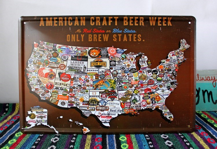 RZXD Vintage Metal PaintingAMERICAN CRAFT BEER WEEKplate - Us beer map wall art