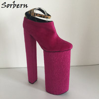 Sorbern Fuchsia Horsehair Leopard Ankle Strap Extrem High Heeled Womans Platform Ankle Shoes 2018 New Custom