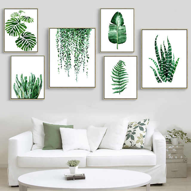 Modular Poster Picture Art Printed Home Decor Tropical Green Plant Leaves Nordic Fresh Living Room No Frame Wall Canvas Painting