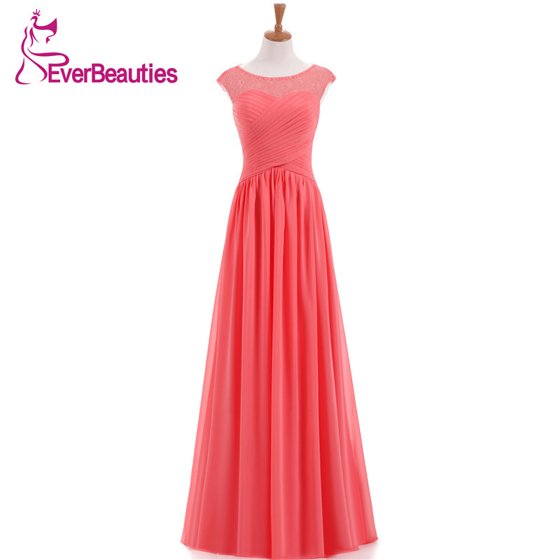 Coral Color Bridesmaid Dress Long Chiffon Lace Five Styles A Line Made In China 2019 New Arrival
