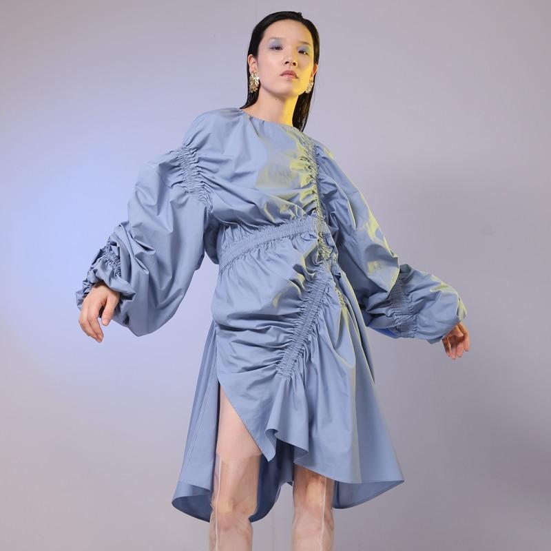 SHENGPALAE 2019 nouveau printemps été col rond à manches longues bleu pli élastique fendu irrégulière grande taille robe femmes mode JG803 - 4
