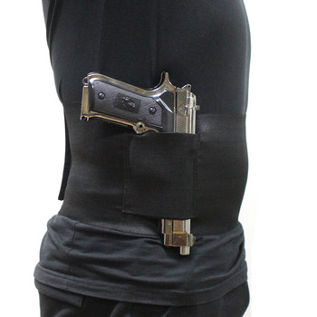 Elastic Belly Band Pistol Gun Holster Undercover Adjustable Waist Slimming Belt Abdominal Binder Pistol Holster with 2 Mag Pouch