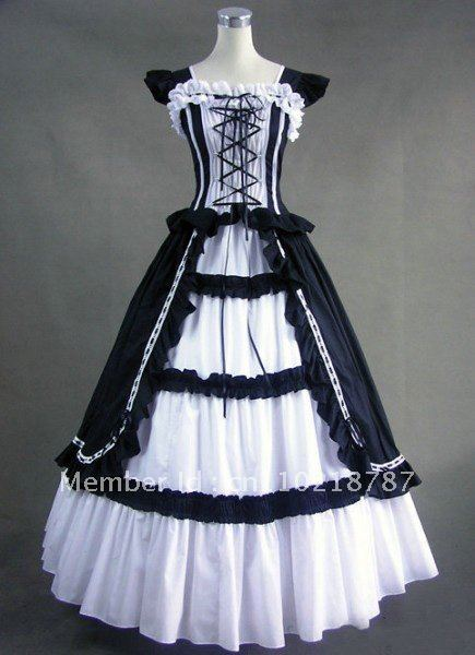 Long Lace  Princess Ball Gown Gothic Cosplay All Sizes Free P&P Black White