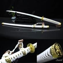 Decorative Sword No Sharp Real Steel Blade Japanese Tachi Katana White & Gold Home Ornament Zinc Alloy Metal Craft For Gift