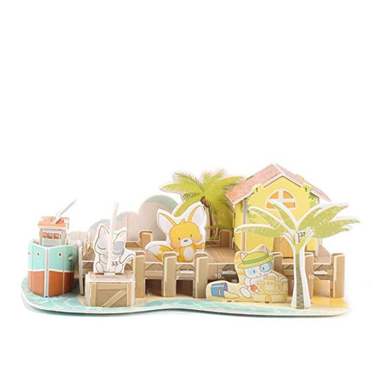 Бумага паззлами раннего обучения Строительная сборка детей украшения дома английские детские игры раннее образование игрушки - Цвет: YJL80925771A