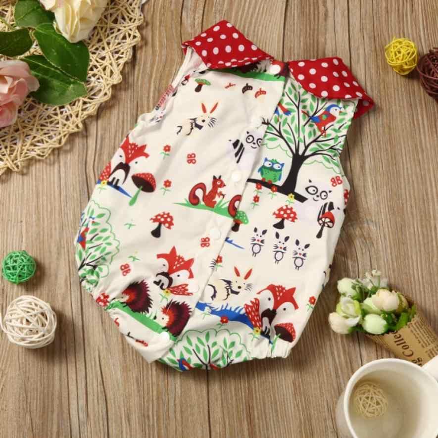 Новинка для новорожденных, для маленьких девочек Комбинезон с лесным рисунком комбинезон повязка на голову, одежда комплект мягкой Летние костюмы с милым рисунком 25 июля