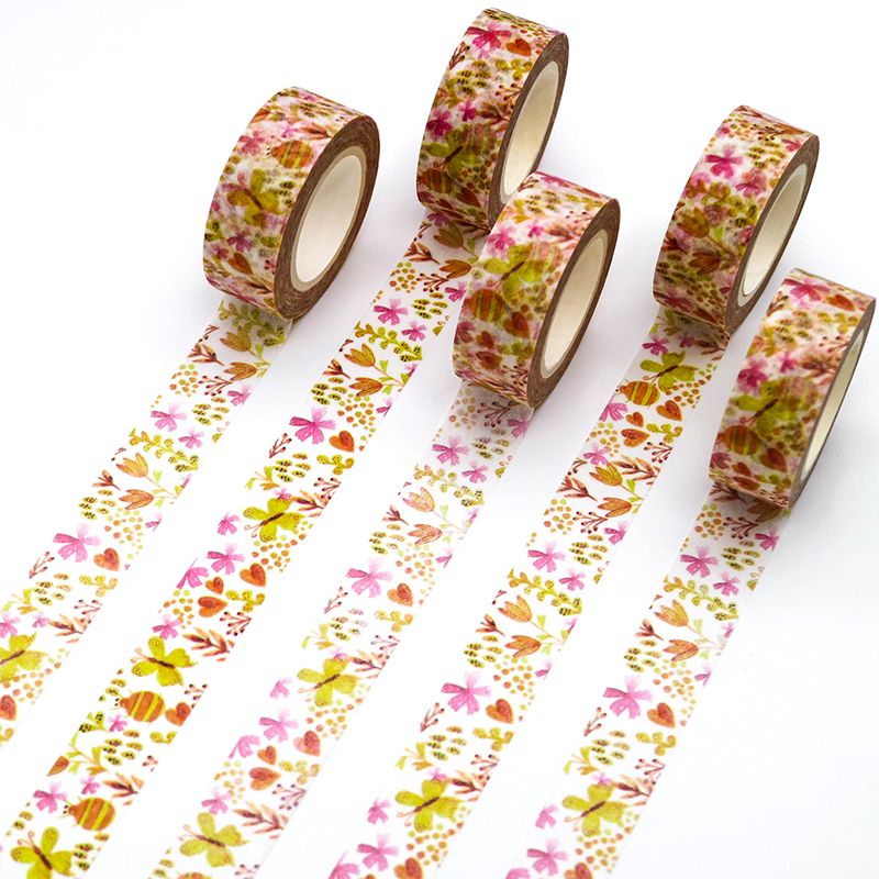 1 PCS Creative Beetle Butterfly Washi Tape Adhesive Paper Tape School Office Supplies Decorative Masking Tape Sticker 15mm*10m