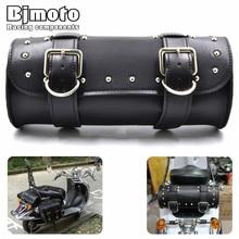 Motorcycle Saddle Bags Black Brown Leather Motorbike Side Tool Tail Bag PU Luggage Borsello Moto for Harley Universal недорого
