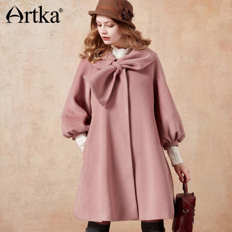 ARTKA Women s Winter Pink Long Lantern Sleeve Bow Woolen Coat Jacket FA10471D