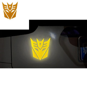 Image 2 - 3d Reflective  Warning Car Sticker Transformers For Car Auto logo Window Tail Car Body Decoration Car Styling