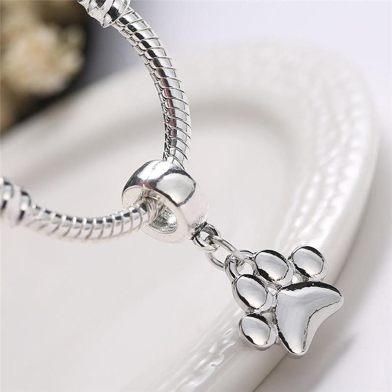 5PCS/Set Cute Pets Dogs Footprints Paw Chain Pendant Silver Plated DIY Finding Bead Jewelry for Women necklace bracelet