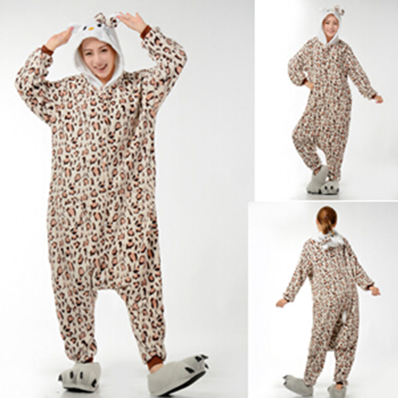 Wholesale Winter Animal Onesies Cartoon Unisex Adult Leopard Tiger Onesie Cosplay Costume Flannel Sleepwear Pajamas Sets