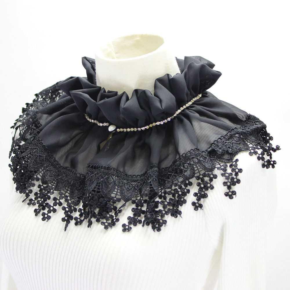New Chiffon Lace Shawl Victoria Collar Tie Accessories Bead Clothes Accessories Peter Pan Sweater Decorative Houndstooth Wool
