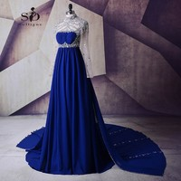 SoDigne Evening Elegant Dresses Royal Blue Crystals Prom Dresses Full Sleeves Formal Dress Prom Gowns 2017 Long Prom Party Dress