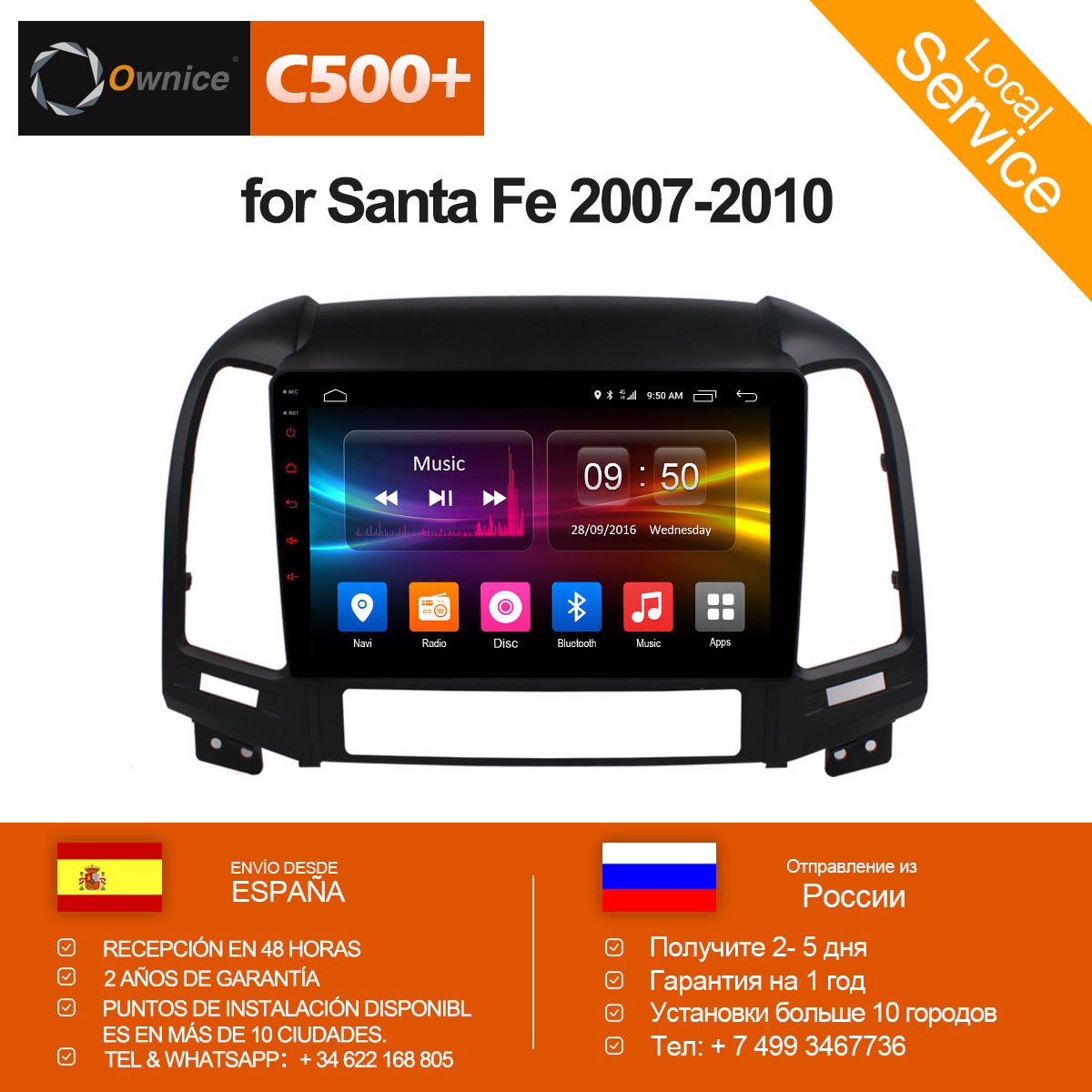 Ownice C500+ G10 Octa Core Android 8.1 Car DVD for Hyundai Santa Fe 2007 - 2010 Radio Navigation gps player 32G+2G 4G SIM LTE ownice c500 android 6 0 octa 8 core 4g sim lte car dvd player for great wall hover h3 h5 with gps navigation radio 32g rom