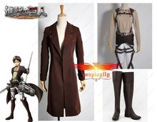 Attack on Titan Recon Corp Eren Jager Windbreaker Online Coat Cosplay Costume Shoes Boots Full Set Any Size For Adult(China)