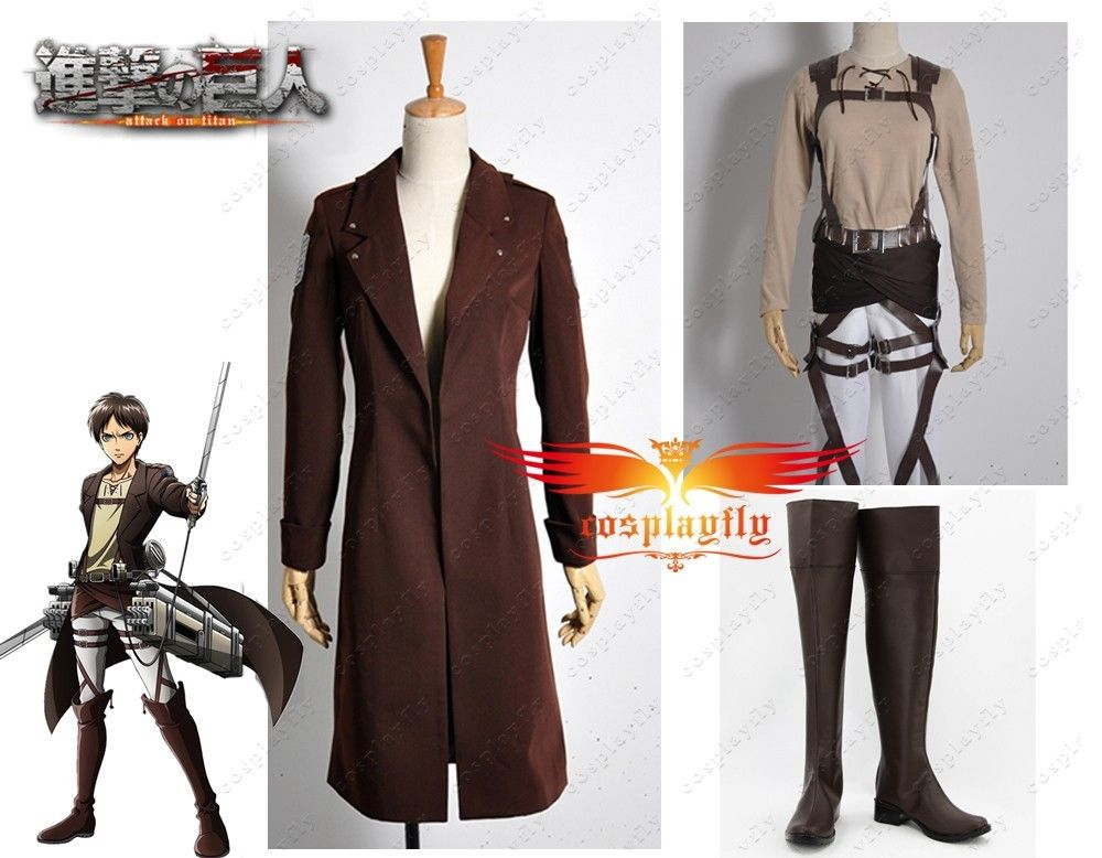 Attack on Titan Recon Corp Eren Jager Windbreaker Online Coat Cosplay Costume Shoes Boots Full Set Any Size For Adult