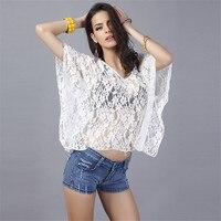 Verano de Las Mujeres Camisas Blusas de Encaje Blusas Camisas tops Sexy mesh See-through de Manga Batwing casual ahueca hacia fuera La Camisa blusa