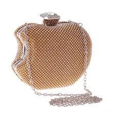 Bamboo Charm New Fashion Mini Apple Shape Evening Party Clutch For Women Crystal Solid Handbag Rhinestone Shoulder Bag Crossbody