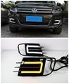 Front Bumper Grille Grill LED DRL Daytime Running Light Fog Lamp For Volkswagen VW Tiguan 2013 2014
