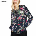 2016 Women Back Floral Print Jacket Pilot Jackets Top Coat Chaquetas Mujer Jaket Women