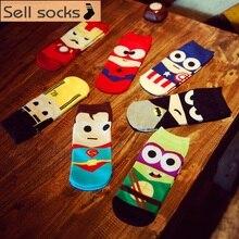 2016 new summer super hero Cartoon  man Casual ankle cotton socks men boat sock slippers harajuku EUR39-44