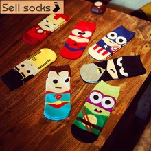 2016 new summer super hero Cartoon  man Casual ankle cotton socks men boat sock slippers harajuku EUR39-44