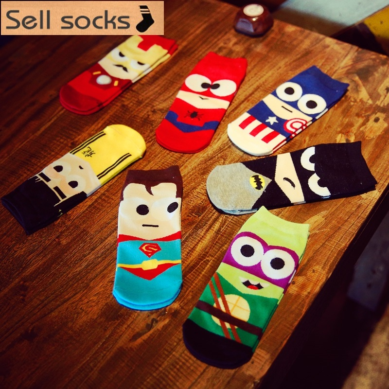Clearance! Summer Super Hero Cartoon  Man Casual Ankle Cotton Socks Men Boat Sock Slippers Harajuku EUR39-44