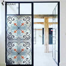 No glue Static Cling Stained Glass Window Film Frosted Privacy Sticker Home Decor European Retro