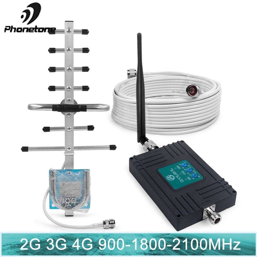 Amplificateur GSM Tri-bande 900/1800/2100 MHz 2G 3G 4G LTE répéteur Mobile de Signal cellulaire 70dB avec antennes pour bande 8/3/1