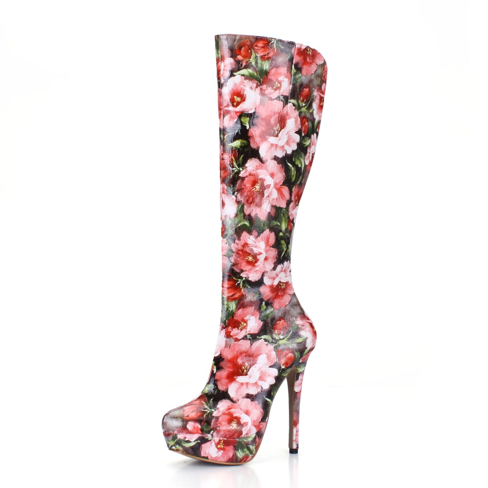 ФОТО women Patent Leather autumn winter boots new arrival round toe fashion shoes woman print floral flowers knee high heels boots