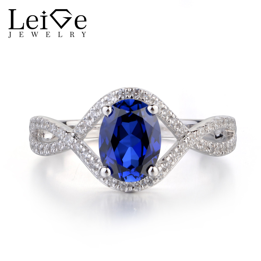 Leige Jewelry Blue Sapphire Ring Oval Shaped Wedding Engagement Rings for Women Sterling Silver 925 Jewelry Blue Gemstone leige jewelry swiss blue topaz ring oval shaped engagement promise rings for women 925 sterling silver blue gemstone jewelry