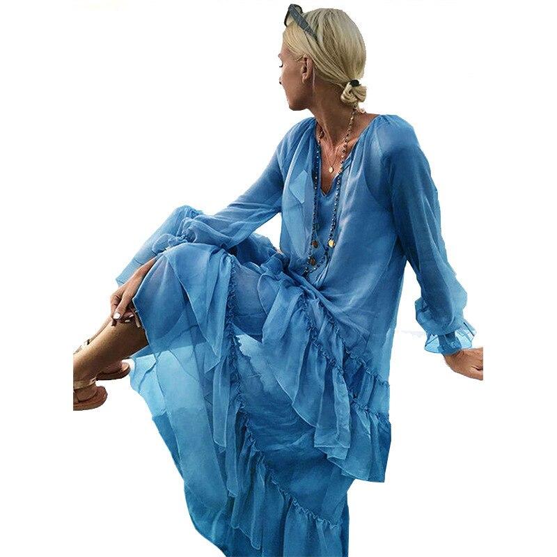 fd4db9c817274 Petal Sleeve V Neck Women's Dress Vintage Patchwork Ruffles Loose Maxi  Dress Long Beach Dress Bohe Women Clothing Spring 2019