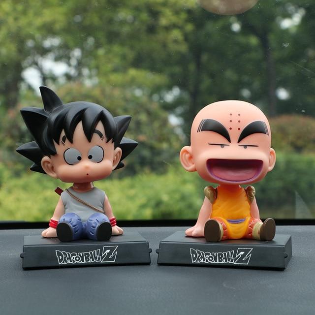 Japanese Anime Dragon Ball Z Goku Krillin Car Decoration Shaking Head Doll Phone Bracket Dragon Ball Action Figure Doll Toy 12cm