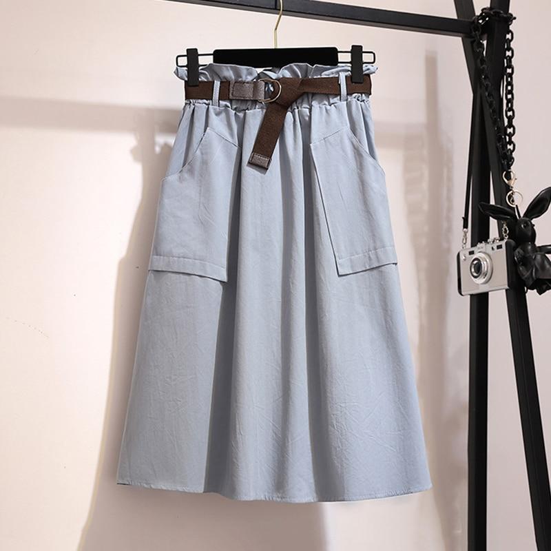 Surmiitro Midi Knee Length Summer Skirt Women With Belt 19 Spring Casual Cotton Solid High Waist Sun School Skirt Female 10