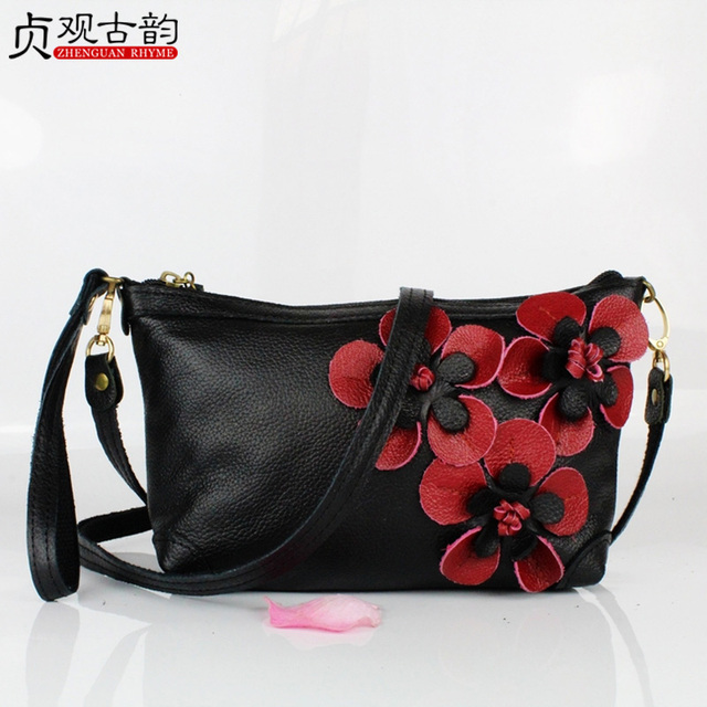 NoEnName Fashion Casual New Ladies Small Ethic Style Women Shoulder Bag Cross-body Bag Genuine Leather Vintage Flower Embroidery