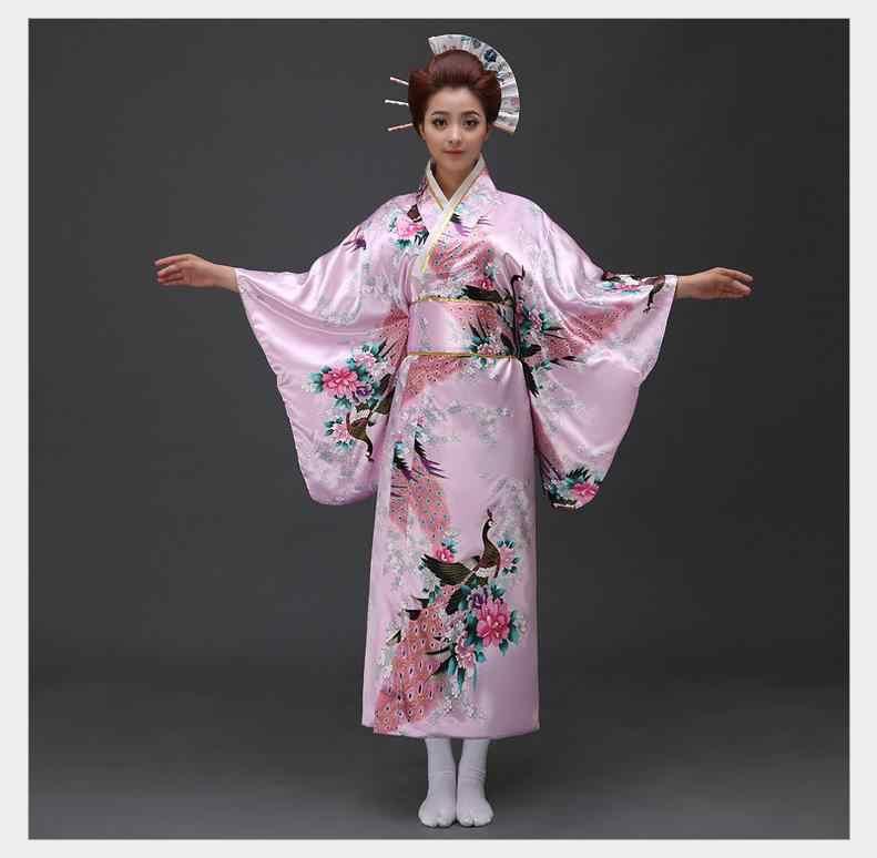 בציר מסיבת שמלת נשים סקסי סאטן קימונו יאקאטה עם אובי ביצועי ריקוד שמלת יפני קוספליי תחפושת אחת גודל