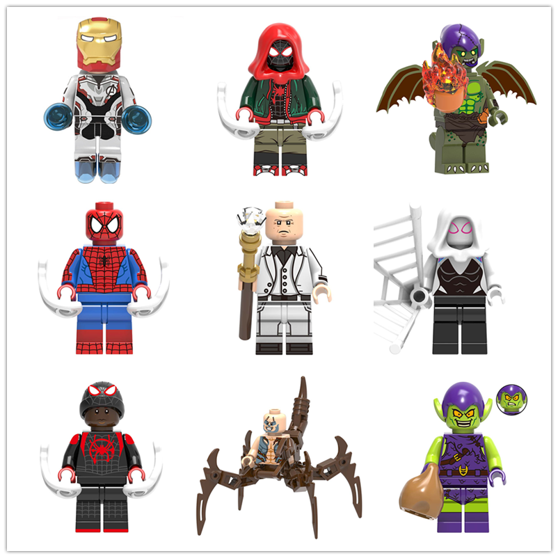 LegoING Minifigured Super Heros Scorpion Miles Morales Kingpin Spider-Man Building Blocks Model Bricks Toys For Children X0241