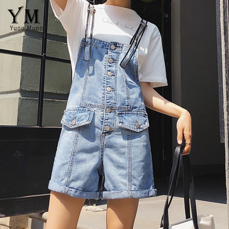 YuooMuoo Design Single-breasted Overalls Women 2019 Summer Denim Jeans Pants Female Salopette Straps Hot Short Jeans Feminino