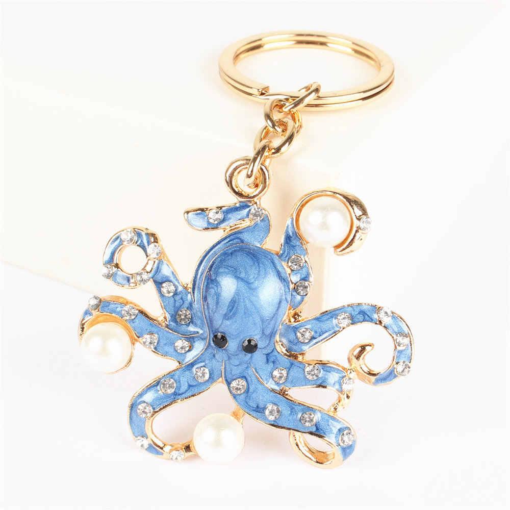 YXT כחול תמנון פרל חמוד קריסטל קסם ארנק תיק מפתח Keyring Keychain מסיבת חתונה יום הולדת Carkey מתנה
